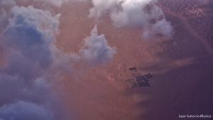 Dunas y plantaciones en el Sahara