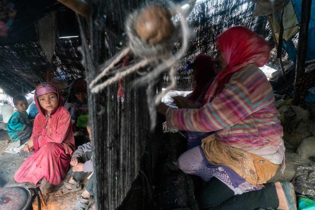 Telar en la jaima. Marruecos