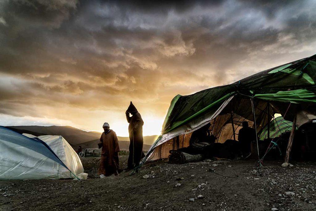 Atardecer en campamento. Marruecos