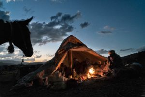 Últimas luces en el campamento. Marruecos