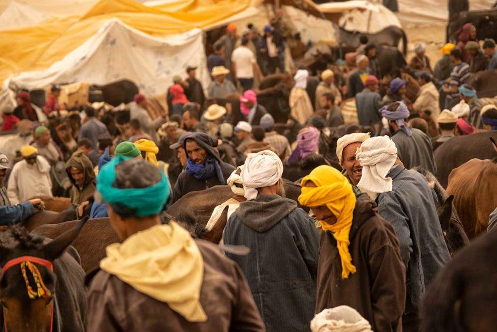 Grupo en mercado. Marruecos