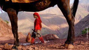 Aguadora entre patas mula. Marruecos