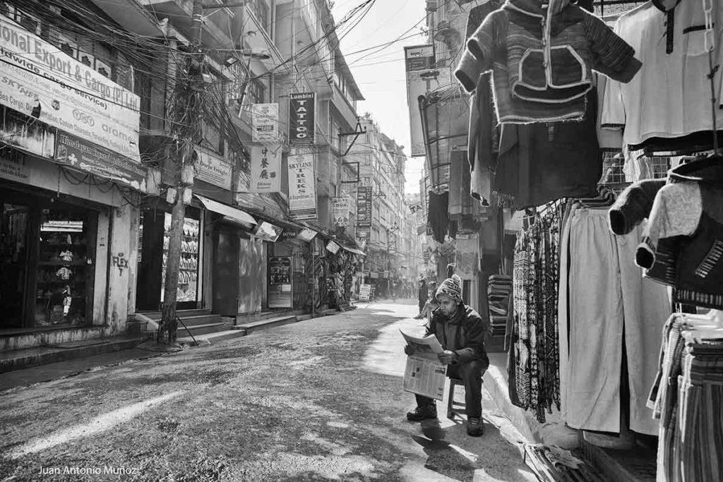 Calle vacía Kathmandu. Nepal