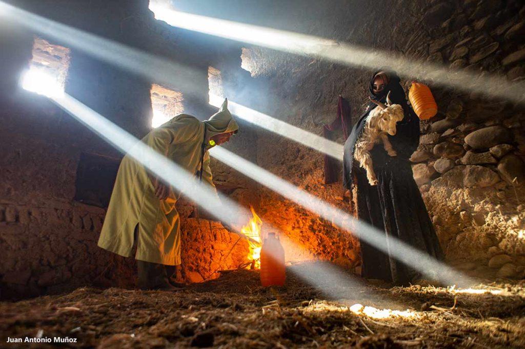 Rayos de luz cabra. Marruecos