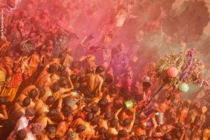 Grupo en color Holi. India